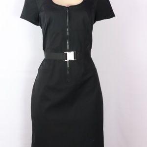 CARLISLE BLACK SHORT SLEEVE SHEATH STYLE DRESS 12